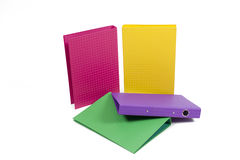 A pile of colorful ring binders Stock Photos