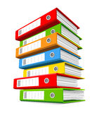 Pile of colorful ring binders. Pile of seven colorful ring binders Stock Photos