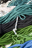 Pile of colorful ropes Stock Photos