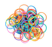 Pile of colorful rubber bands Stock Photos