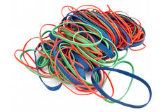 Pile of Colorful Rubberbands Stock Images