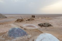 A pile of colorful salt in dry salt lake Chott El Djerid, Tunisia, Africa royalty free stock photography