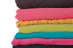 Pile of colorful scarves Stock Photo