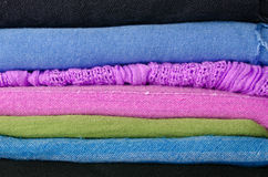 Pile of colorful scarves Stock Images
