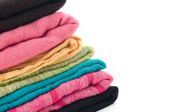 Pile of colorful scarves Stock Photos