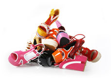 Pile of colorful shoes stock images