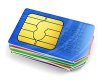 Pile of colorful SIM cards Royalty Free Stock Image