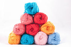 Pile of colorful skeins Royalty Free Stock Images