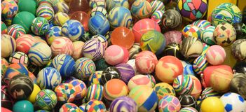 Pile Of Colorful Super Balls With Unique Patterns royalty free stock images