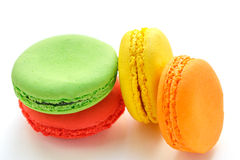 Pile of colorful and tasty French Macarons on white background Royalty Free Stock Photography