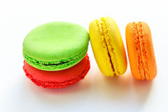 Pile of colorful and tasty french macaroons on white background Royalty Free Stock Photo