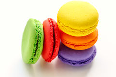 Pile of colorful and tasty french macaroons on white background Royalty Free Stock Photography