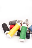 Pile of colorful threads over white background.  Stock Image