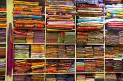Pile of Colorful Traditional textile in Thailand royalty free stock photo