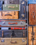 Pile of colorful vintage suitcases Stock Image
