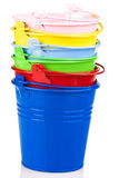 Pile of coloured buckets Stock Images