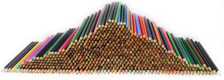 A pile of coloured pencils. royalty free stock image