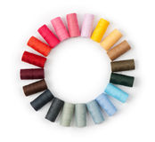 Pile of coloured threads. On white royalty free stock photography