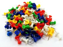 A pile of coloured thumbtacks Royalty Free Stock Images