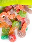 Colorful sugar coated chewy gummy candy. Pile of colourful sugary coated chewy gummy candy stock photo