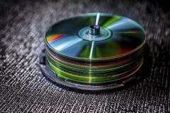 Pile of compact discs. On dark background Stock Images