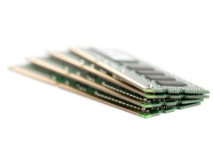 Pile of Computer Memory. A pile of four DIMM memory modules. Very shallow DOF. Focus on the front royalty free stock images