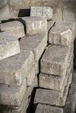 Pile of concrete bricks stock photo