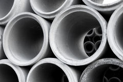Pile of concrete pipes Royalty Free Stock Images