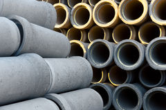Pile of concrete pipes Stock Images