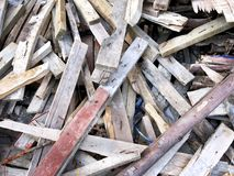 Pile of Construction Wooden Planks with Nails. Background Stock Photo