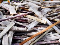 Pile of Construction Wooden Planks with Nails. Background Stock Images