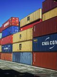 Pile of containers on vertical shape Royalty Free Stock Photo
