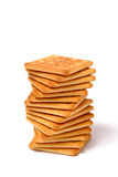 Pile cookies in spiral form. On white Royalty Free Stock Photos