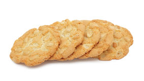 Pile of cookies stacked with nuts, isolated Stock Photos