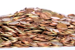 Pile of copper coins. Big pile of copper coins isolated, sharp in the middle of the pile Stock Images