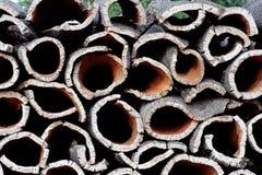 Pile of cork oak bark. Pile of bark harvested from Cork Oak trees ready for transformation to cork Stock Image