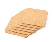 Pile of cork textured coasters isolated Royalty Free Stock Images