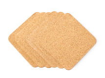 Pile of cork textured coasters isolated Stock Image