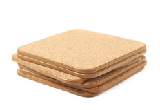 Pile of cork textured coasters  Royalty Free Stock Photo
