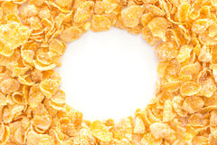 Pile of cornflakes, isolated on white background Royalty Free Stock Photos