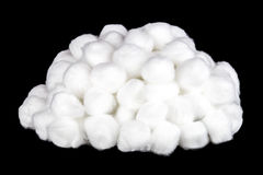 Pile of Cotton Balls on a Black Background Stock Photos