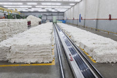 Pile of cotton in blow room Royalty Free Stock Image