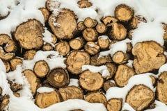 pile couverte de neige de bois de chauffage images stock