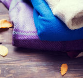 Pile of cozy warm blankets Royalty Free Stock Image