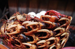 A pile of crab claws at a market Royalty Free Stock Photography