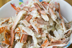 Pile of crab remain in bowl Stock Photos