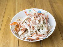 Pile of crab remain in bowl on wooden board Stock Photo