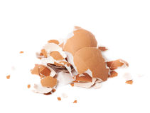 Pile of cracked egg shells isolated Stock Images