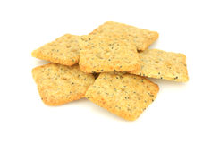 Pile of crackers. Isolated on a white background Stock Images