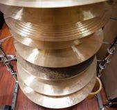 Pile of crash cymbal drum plates Royalty Free Stock Photo
